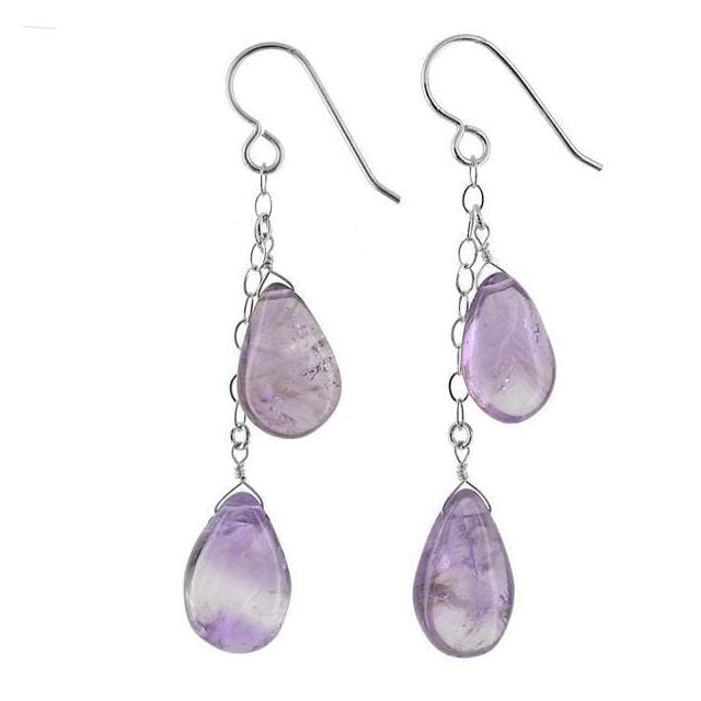 Amethyst Dangle Long Earrings Natural Gemstone Jewelry - Earrings