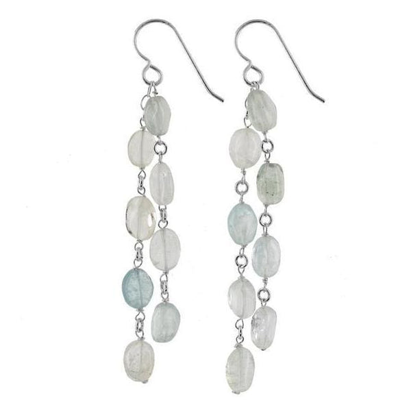 Aquamarine Gemstone Sterling Silver Handcrafted Chandelier Earrings - Earrings