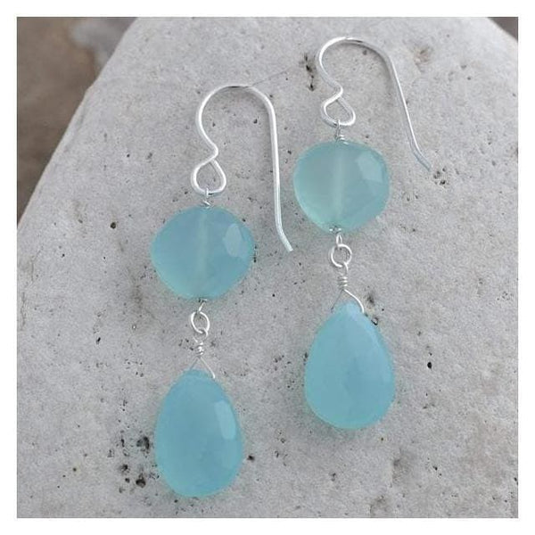 Baby Blue Earrings | Aqua Blue Chalcedony Earrings | Gemstone Dangle Earrings - Earrings