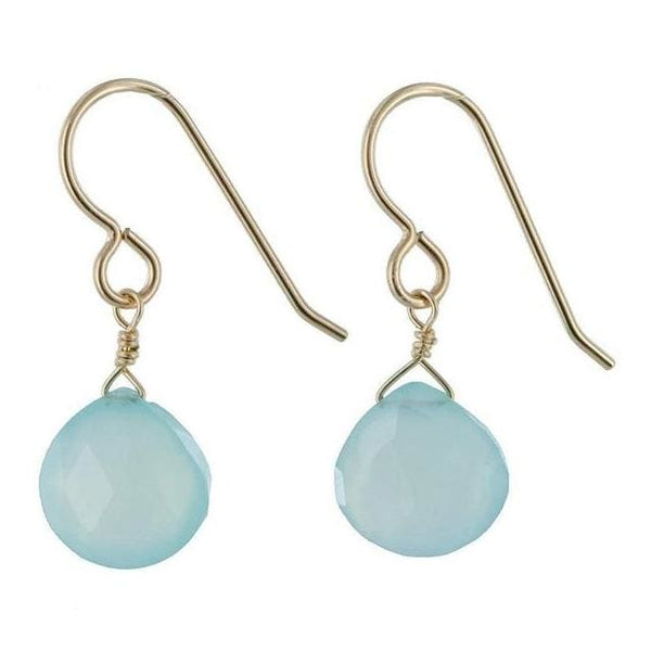 Baby Blue Earrings | Aqua Chalcedony Gemstone Dangle Drop Earrings - Earrings