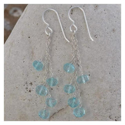 Baby Blue Earrings | Blue Quartz Gemstone Dangle Chandelier Earrings - Earrings