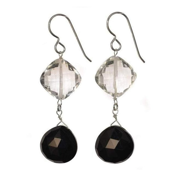 Black and White Earrings | Onyx Crystal Stones | Black Gemstones | Silver Dangle Earrings - Earrings