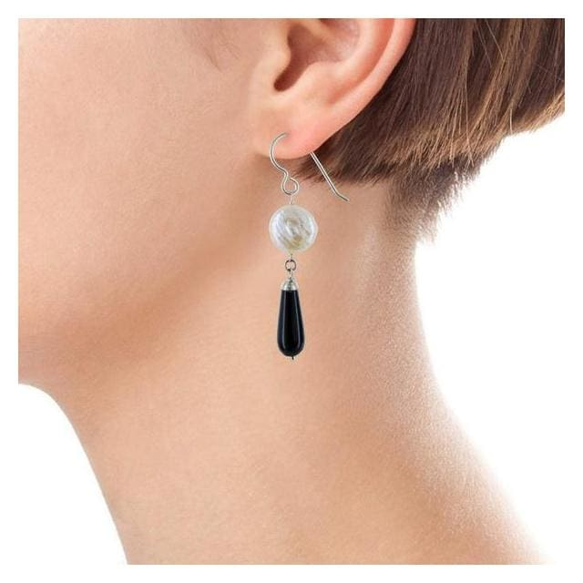 Black and White Earrings | Pearl Black Onyx Gemstones - Earrings
