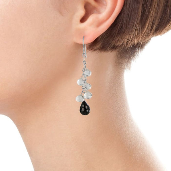 Black and White Earrings | Black Spinel Quartz Crystal Gemstones | Chandelier Earrings - Earrings