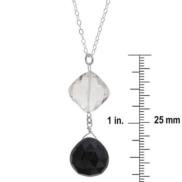 Black and White Jewelry | Onyx Crystal Pendant | Black Gemstones | Silver Necklace - Necklaces
