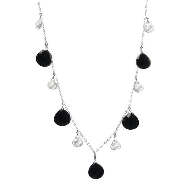 Black and White Necklace | Gemstone Necklace | Black Onyx Quartz Crystals - Necklaces