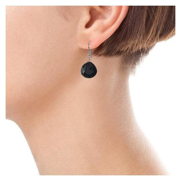 Black Earrings | Black Onyx Gemstone Dangle Silver Earrings - Earrings
