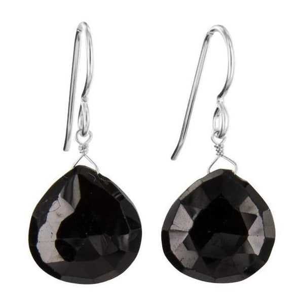 Black Earrings: Spinel Dangle Silver Earrings | Black Gemstones - Earrings