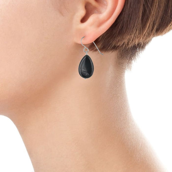 Black Onyx Earrings | Black Gemstones | Silver Teardrop Earrings - Earrings