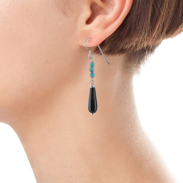 Black Onyx Turquoise Dangle Earrings | Blue Black Silver Gemstones Earrings - Earrings