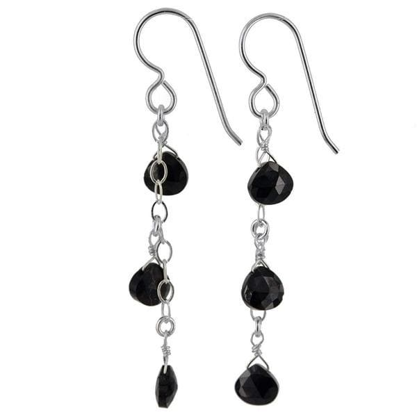 Black Spinel Dangling Long Earrings | Black Gemstone Silver Jewelry - Earrings