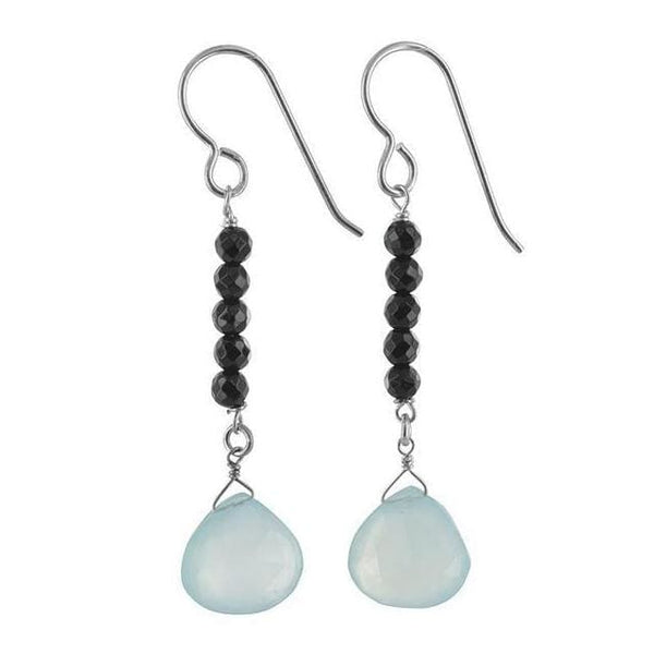Blue Chalcedony Earrings | Black Onyx Gemstone Dangle Earrings - Earrings