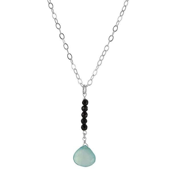 Blue Chalcedony Necklace | Black Onyx Handmade Pendant - Necklaces