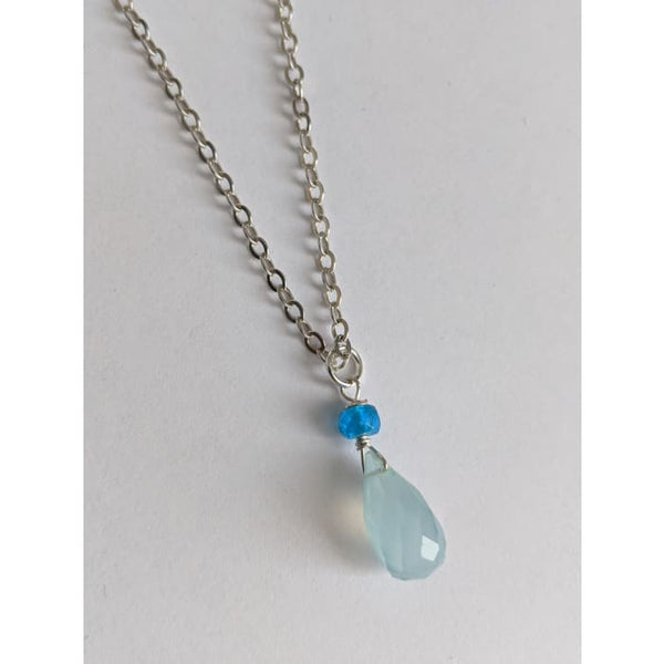 Blue Chalcedony Neon Blue Apatite Gemstone Silver Necklace