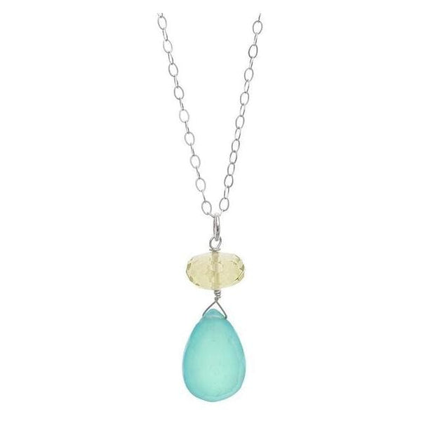 Blue Chalcedony Pendant | Lemon Quartz Gemstone Necklace - Necklaces
