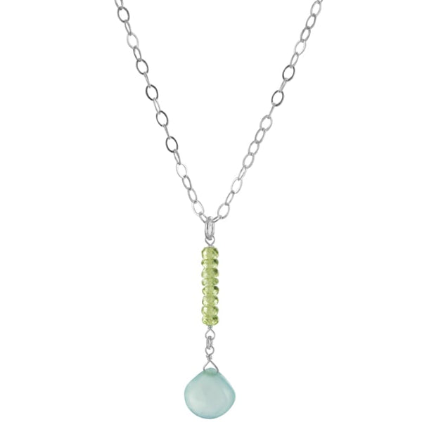 Blue Chalcedony Peridot Gemstone Necklace | Baby Blue Light Green Gemstones - Necklaces