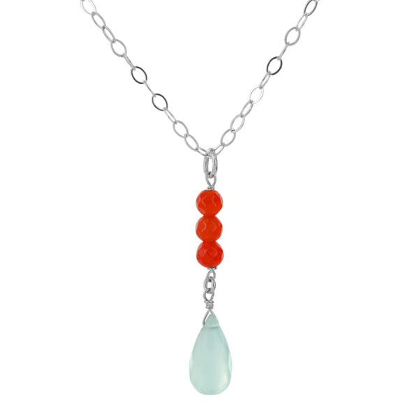 Blue Chalcedony Red Jade Silver Handmade Pendant Necklace - Necklaces