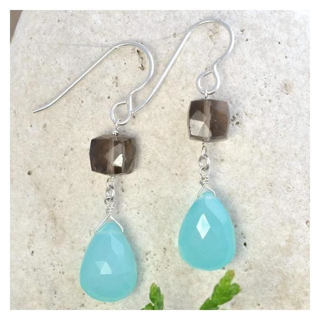 Blue Chalcedony Smoky Quartz Gemstones | Blue Brown Earrings - Earrings