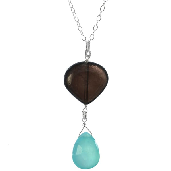 Blue Chalcedony Smoky Quartz Pendant | Blue Brown | Gemstone Necklace - Necklaces
