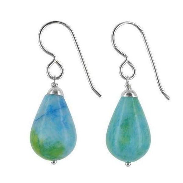 Blue Green Earrings | Ocean Jasper Gemstone Dangle Earrings - Earrings