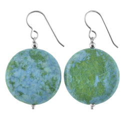 Blue Green Earrings | Ocean Jasper Gemstone Large Earrings - Earrings
