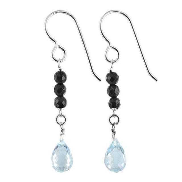 Blue Topaz Earrings | Black Onyx Gemstones | December Birthstones - Earrings