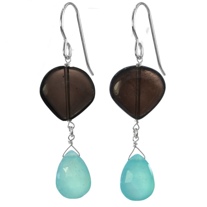 Bold Earrings | Blue Chalcedony Smoky Quartz | Blue Brown Gemstones - Earrings