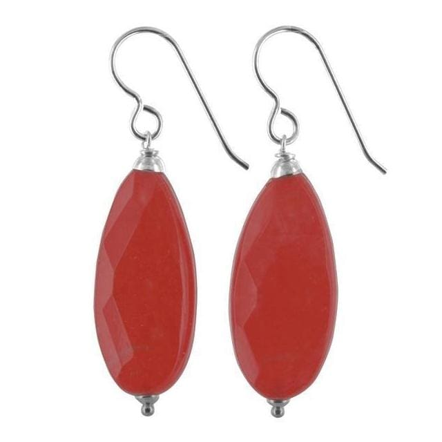 Bright Red Earrings | Red Jade Gemstone Dangle Earrings - Earrings