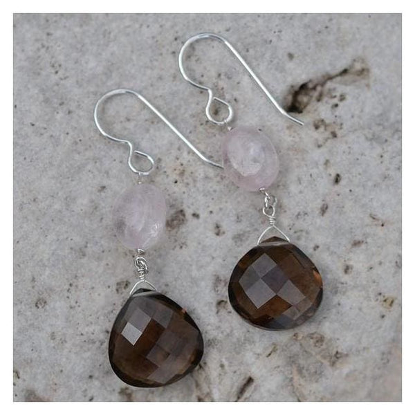 Brown Earrings | Smokey Quartz Rose Quartz Dangle Earrings - Earrings