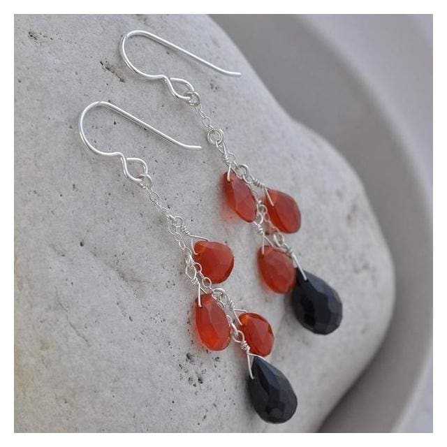 Carnelian Black Spinel Long Earrings | Dangle Orange Black Gemstone Chandelier Earrings - Earrings