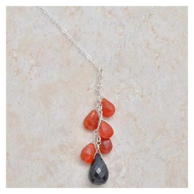 Carnelian Black Spinel Long Pendant | Dangle Orange Black Gemstone Chandelier Necklace - Necklaces