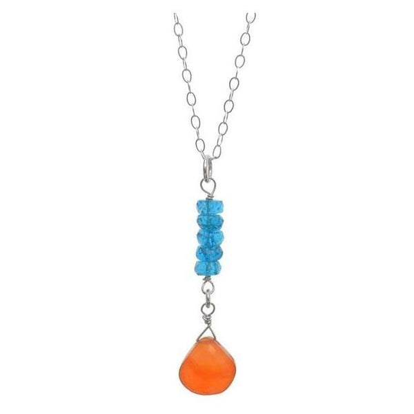 Carnelian Briolette Madagascan Neon Blue Apatite Handmade Gemstone Pendant Necklace - Necklaces