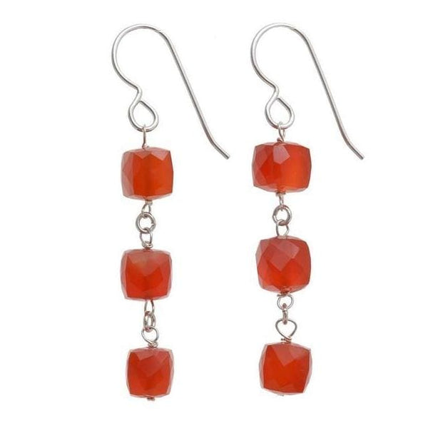 Carnelian Dangle Earrings | Orange Gemstone Earrings - Earrings