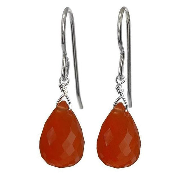 Carnelian Drop Earrings | Dangle Orange Gemstone Earrings - Earrings