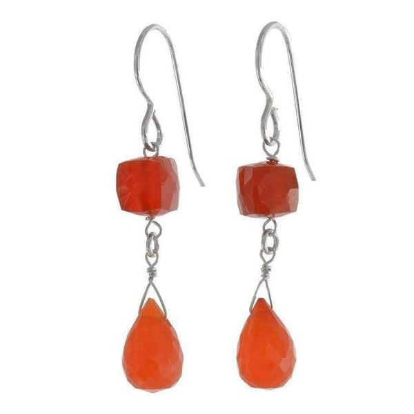 Carnelian Earrings | Dangle Orange Gemstone Earrings - Earrings
