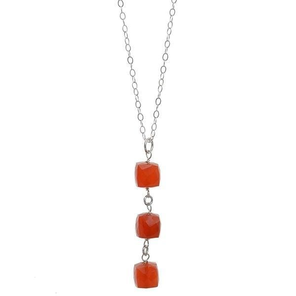 Carnelian Natural Gemstone Sterling Silver Handmade 18 Inch Necklace - Necklaces