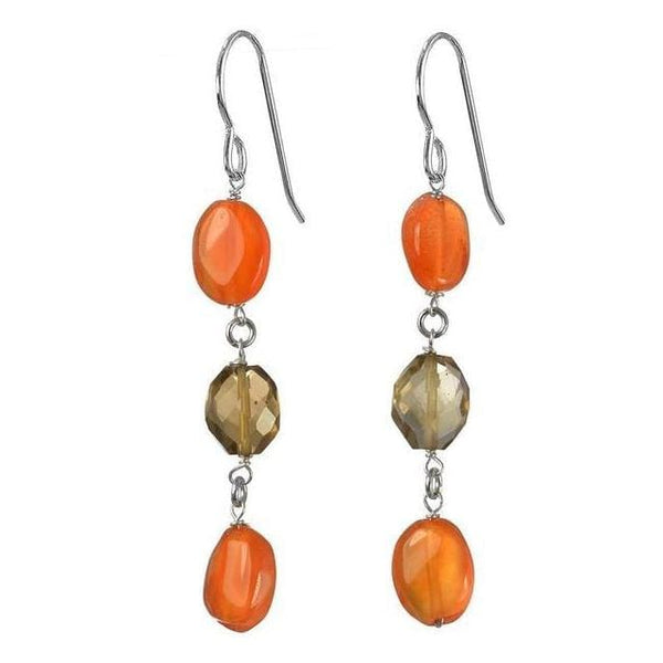 Carnelian Smoky Quartz Dangle Earrings | Orange Browm Gemstone Earrings - Earrings