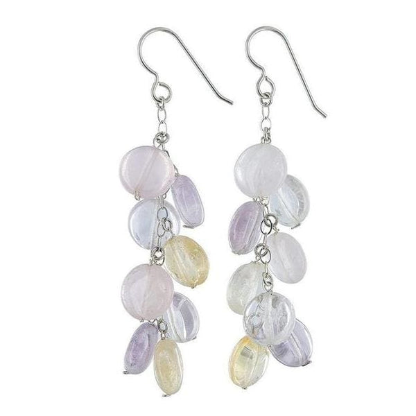 Citrine Amethyst Rose Quartz Earrings | Pastel Gems | Long Gemstone Earrings - Earrings