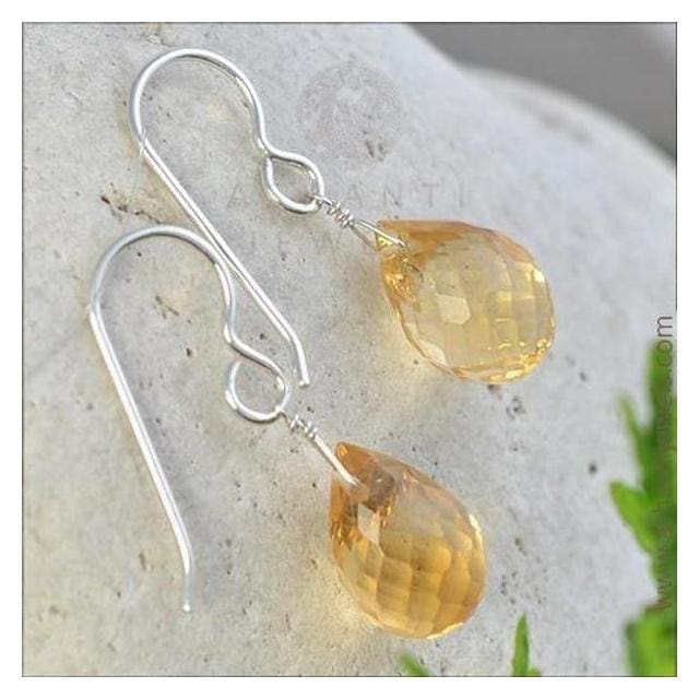 Citrine Dangle Earrings | Yellow Jewelry | November Birthstones - Earrings