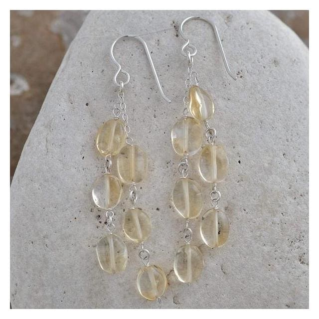 Citrine Earrings | Citrine Gemstone Dangle Earrings | November Birthstones - Earrings