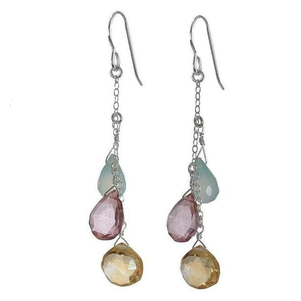 Citrine Pink Quartz Blue Chalcedony Gemstone Long Earrings | Pastel Earrings - Earrings