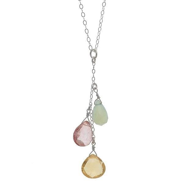 Citrine Pink Quartz Blue Chalcedony Gemstone Pendant | Pastel Necklace - Necklaces