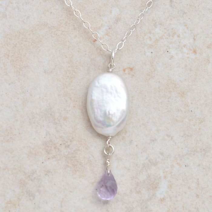 Coin Pearl Pink Amethyst Necklace | Lavender Jewelry - Necklaces