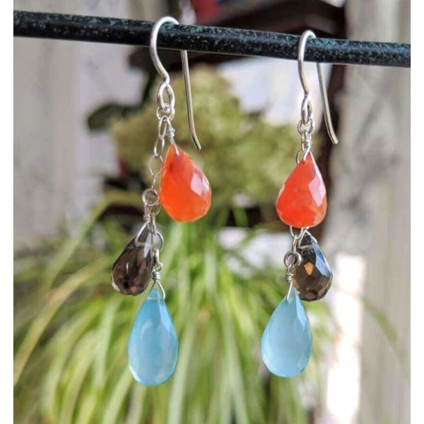 Colorful Chandelier Earrings | Chalcedony Carnelian Smokey Quartz Gemstone Earrings - Earrings