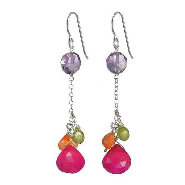 Colorful Earrings | Dark Pink Chalcedony Amethyst Carnelian Peridot Gemstones - Earrings