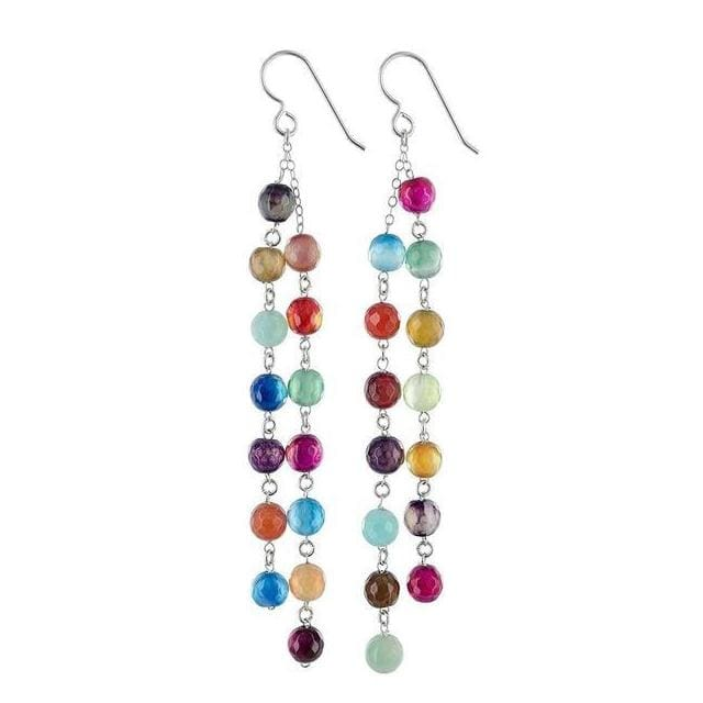 Colorful Earrings | Multicolor Agate Gemstone Long Chandelier Earrings - Earrings
