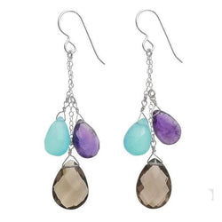 Colorful Gemstone Earrings | Smokey Quartz Blue Chalcedony Amethyst - Earrings