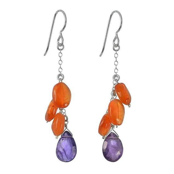 Colorful Long Earrings | Amethyst Carnelian Gemstone Long Earrings - Earrings