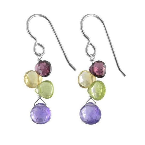 Colorful Rainbow Earrings | Amethyst Peridot Citrine Garnet Gemstones | Unique Birthstone Earrings - Earrings