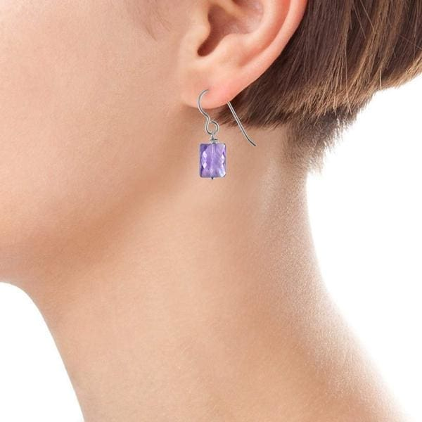 Dainty Amethyst Dangle Earrings | Amethyst Gemstone Jewelry - Earrings